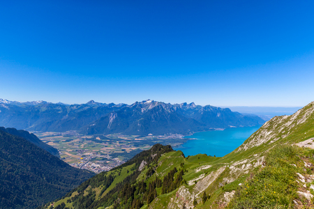 montreux: Aerial view of Lake Geneva and Montreux city from the view platform on Rochers-de-Naye, on a sunny summer day in canton of Vaud, Switzerland.