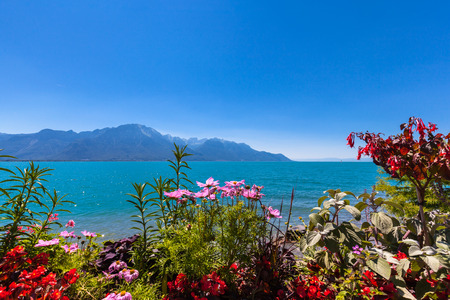 Beautiful view of the Alps, Geneva lake from Montreux city with colorful flowers in foreground on a sunny summer day, Canton of Vaud, Switzerland
