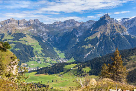 Panorama view of the swiss alps in central Switzerland with peak Hahnen and the valley of Engelberg, Caonton of Nidwalden