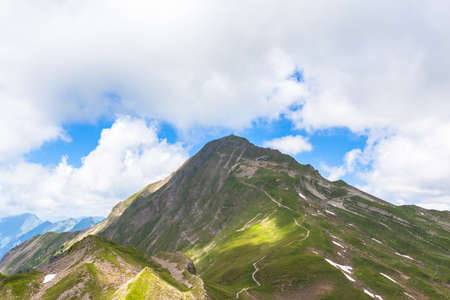 Beautiful view of the Brienzer Rothorn above the Brienz lake on Bernese Oberland on the hiking path, Switzerland.