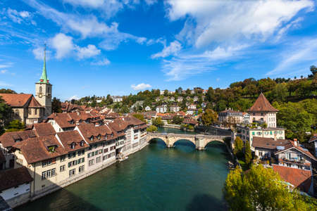 Beautiful view of the old city of Berne on bridge in Switzerland