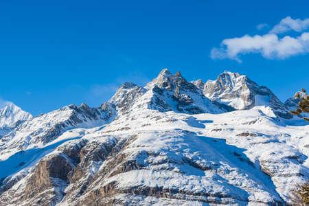 Panorama view of Alps on Swiss Italy Border near Matterhorn, Weisshorn, Zermatt, Canton of Valais, Switzerland.