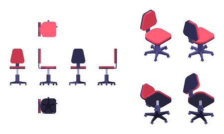 isometric and flat red chair on wheels from differnet directions Vettoriali