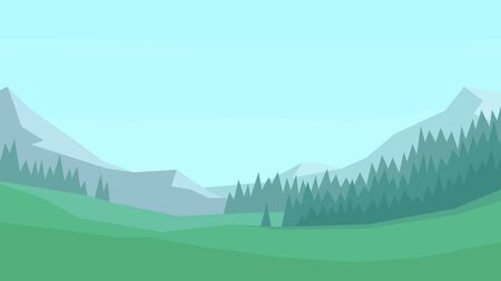 vector illustration abstract landscape spruce forest plain trees clear sky mountains