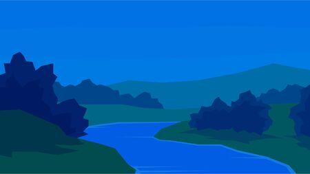 vector illustration abstract evening landscape river bush forest hill