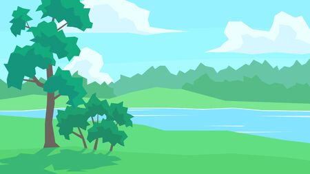 vector illustration abstract landscape river forest cloudy sky tree bush