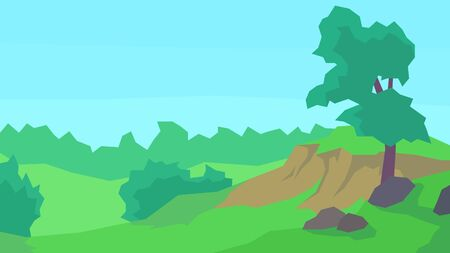 vector illustration abstract landscape clear sky forest tree bush stones cliff