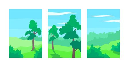 vector illustration set of abstract landscapes tree bush cloud sky forest
