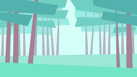 vector illustration abstract geometric landscape summer pine trees forest grass day