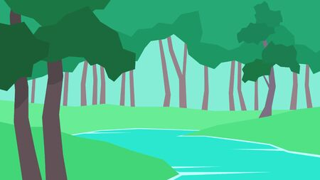 vector illustration abstract polygon landscape river tree grass foliage forest at the day