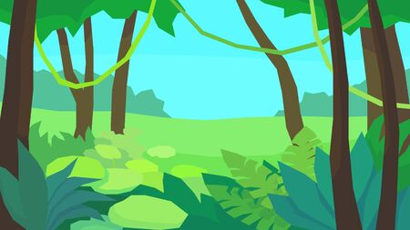 vector illustration abstract polygon landscape jungle dense thicket fern vine tree forest at the day