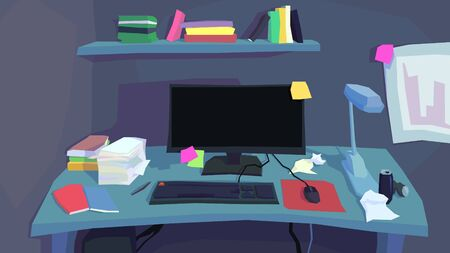 vector illustration abstract poly interior office messy desk table lamp computer display keyboard mouse book shelf