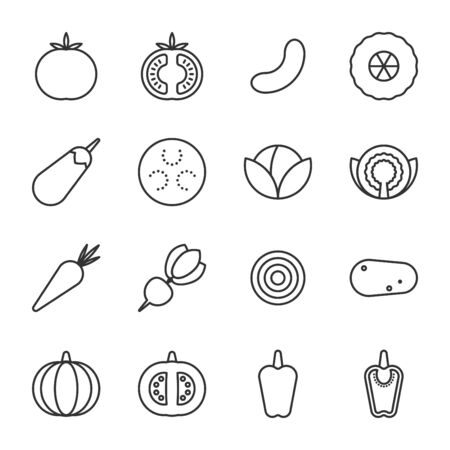 set of outline icons vegetable collection vector illustration