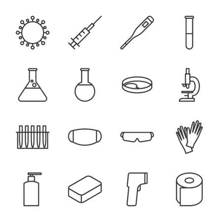set of outline icons coronavirus medical stuff vector illustration