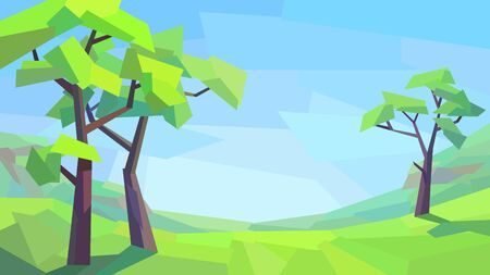 low poly landscape tree field hill grass vector illustration