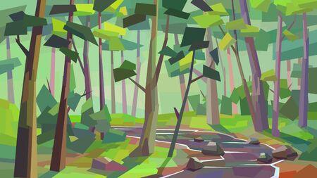 low poly landscape dense forest river brook tree rock bush vector illustration  イラスト・ベクター素材