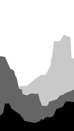 black and white low poly landscape vertical mountain hill rock silhouette vector illustration