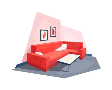 low poly living room interior corner couch pillow coffee table picture vector illustration
