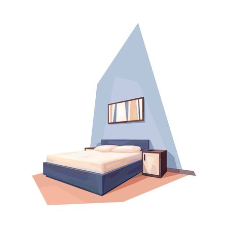 low poly bed room interior double bed nightstand picture vector illustration