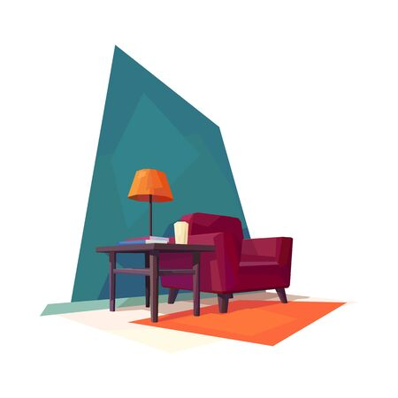 low poly living room interior armchair coffee table lamp shade vector illustration Çizim