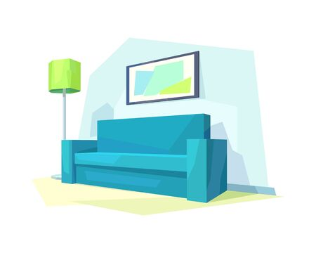 low poly living room interior couch picture lamp shade vector illustration