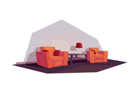 low poly living room interior orange armchair lamp shade coffee table vector illustration