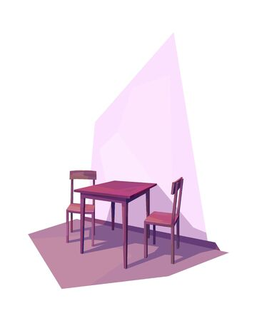 low poly room interior wooden table chair vector illustration