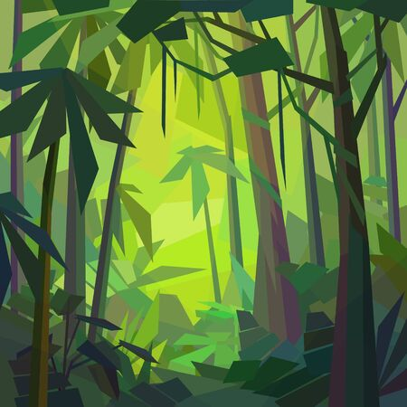 Low poly tropical landscape. Beautiful jungle with palms and ferns. Vector illustration