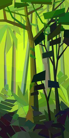 Low poly dense jungle landscape. Rainforest with ferns and vines. Vertical vector illustration