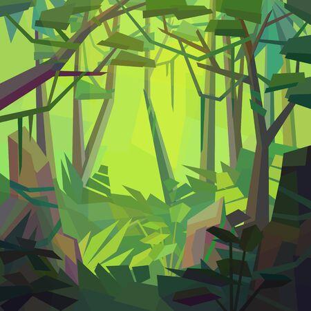 Low poly landscape. Dense jungle with rocks vines and ferns. Vector illustration