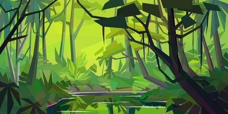 Low poly rainforest landscape. River with reflection in dense jungle. Horizontal vector illustration