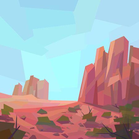 Low poly desert landscape. Mountains, vegetation, rocks. Vector illustration