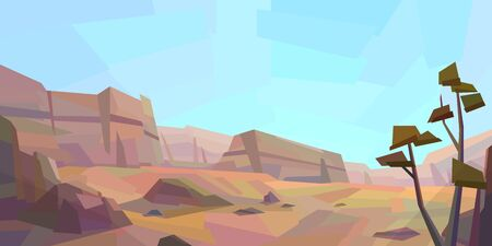 Low poly desert landscape. Mountains, vegetation, tree, rocks. Vector illustration 写真素材 - 150226196