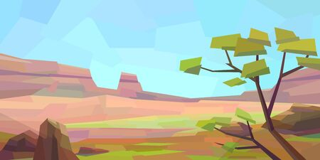 Low poly desert landscape. Mountains, vegetation, tree, rocks. Vector illustration