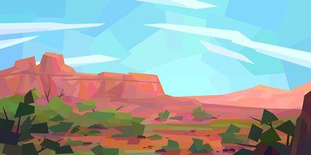 Low poly desert landscape. Mountains, vegetation, rocks. Vector illustration 写真素材 - 150226215