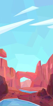 Low poly desert landscape. Mountains, canyon, rocks, river. Vector illustration
