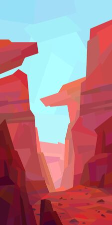 Low poly desert landscape. Mountains, canyon, rocks, ravine. Vector illustration Vettoriali