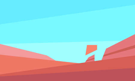 Low poly red mesa landscape. Horizontal vector illustration Illusztráció