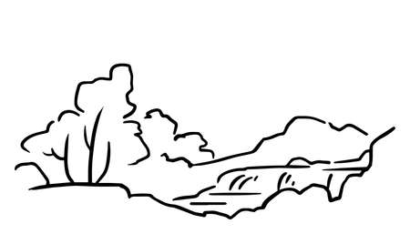 Outline landscape. There are waterfall and vegetation. Vector illustration