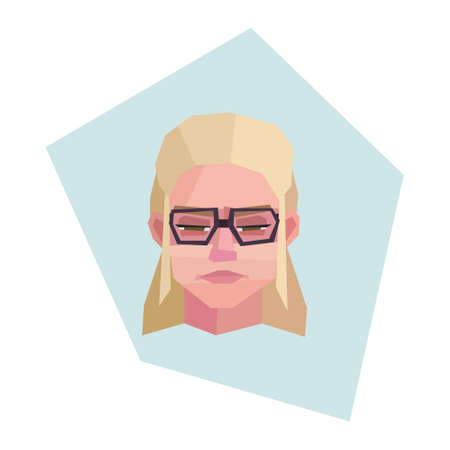 Suspicious blonde girl with glasses. Long hair. Vector illustration