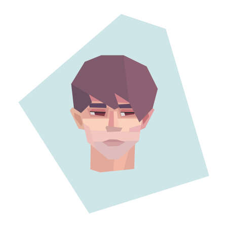 Embarrassed fair-haired young man. Short haircut. Vector illustration
