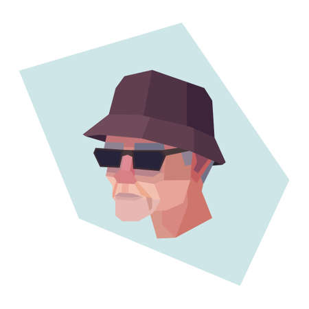 Old man with sunglasses and panama. Grey hair. Vector illustration