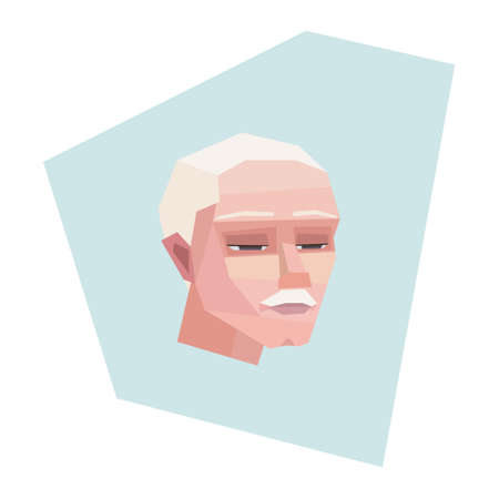 Tired old man with mustache. Grey hair. Vector illustration