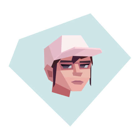 Fair-haired girl with cap. Neutral facial expression. Vector illustration
