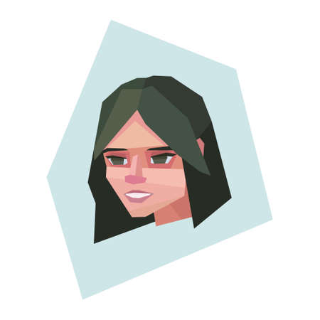 Smiling young lady. Long dark green hair. Vector illustration