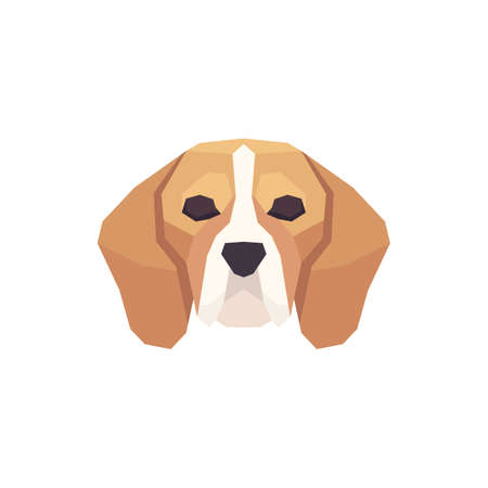 Low poly Beagle head. Vector illustration