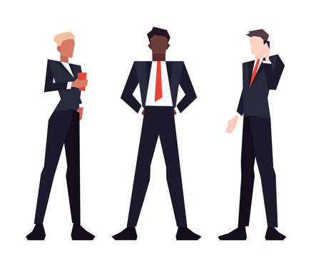 Set of low poly slim business people in suits isolated on white background. Vector illustration