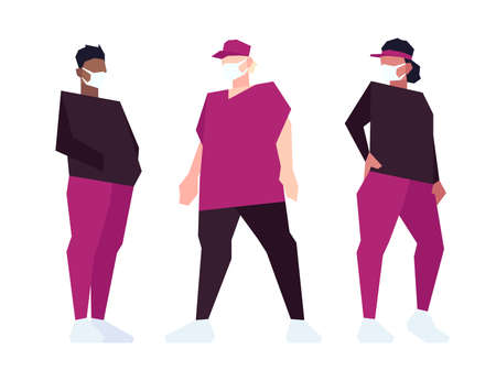 Set of low poly overweight people in masks isolated on white background. Vector illustration