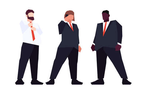 Set of low poly overweight business people in suits isolated on white background. Vector illustration 矢量图像