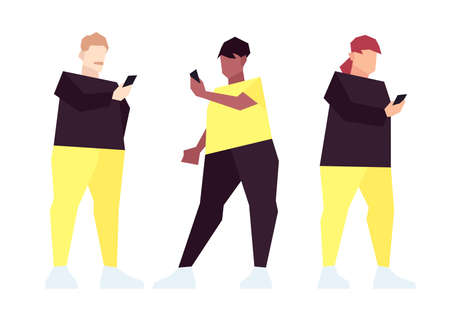Set of low poly overweight people with smartphones isolated on white background. Vector illustration